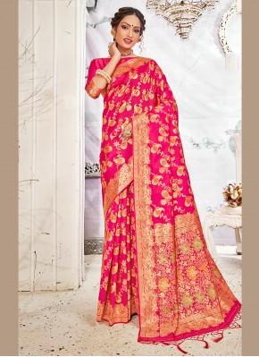 Staggering Weaving Banarasi Silk Hot Pink Traditional Saree