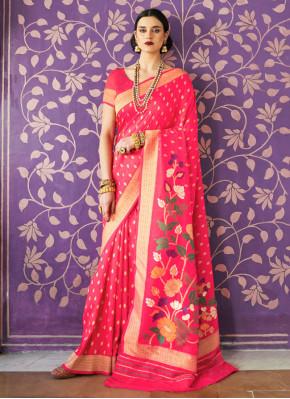Staggering Weaving Handloom silk Hot Pink Traditional Saree