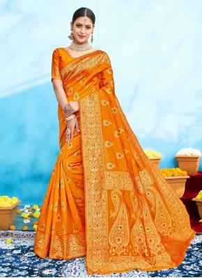 Staggering Weaving Mustard Traditional Designer Saree