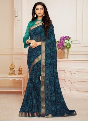 Staring Abstract Print Blue Faux Georgette Casual Saree