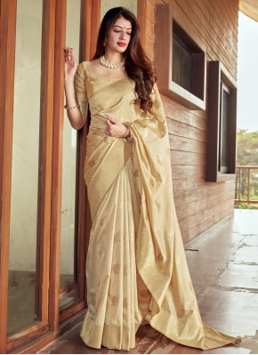 Staring Beige Silk Traditional Saree