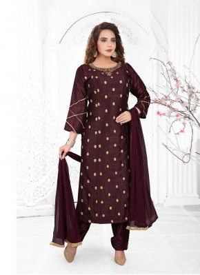 Staring Embroidered Poly Silk Brown Readymade Suit