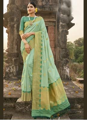 Staring Fancy Green Designer Traditional Saree