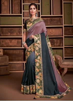 Staring Mauve  Embroidered Silk Classic Saree