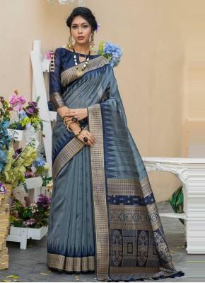 Staring Tussar Silk Grey Weaving Designer Saree