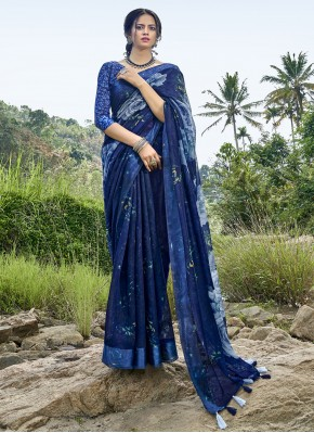 Sterling Blue Cotton Printed Saree