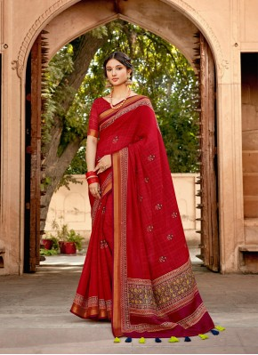 Sterling Cotton Red Print Classic Saree