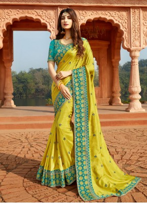 Sterling Embroidered Silk Yellow Classic Designer Saree