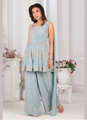 Sterling Georgette Sequins Work Designer Ready made Palazzo Dress
