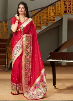Sterling Red Weaving Silk Traditional Designer Saree
