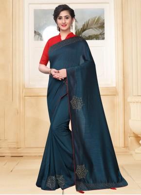 Stone Silk Classic Saree in Teal