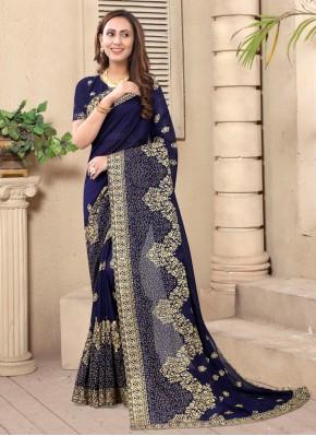 Stone Silk Designer Saree in Navy Blue