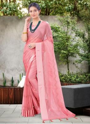 Stone Work Chiffon Satin Classic Designer Saree in Pink