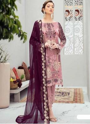 Stone Work Net Designer Pakistani Suit in Pink and Purple