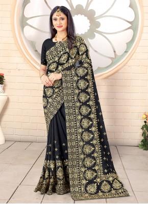 Stone Work Vichitra Silk Traditional Designer Saree in Black