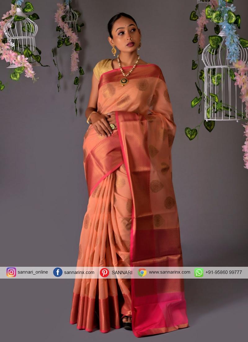 Strange Chanderi Cotton Fancy Peach Classic Designer Saree