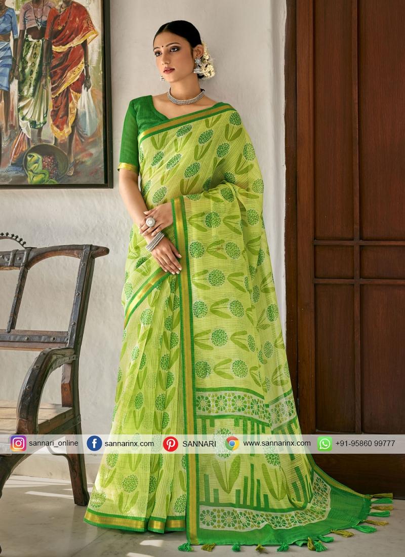 Strange Cotton Green Printed Printed Saree