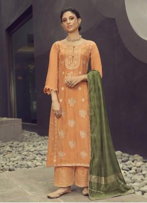 Strange Jacquard Silk Embroidered Orange Designer Palazzo Suit