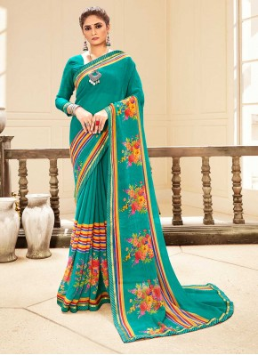 Strange Sea Green Abstract Print Faux Georgette Traditional Saree