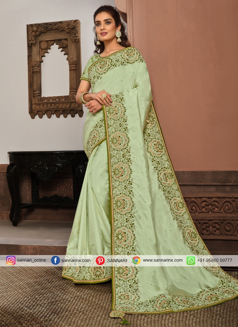Strange Silk Sea Green Designer Traditional Saree