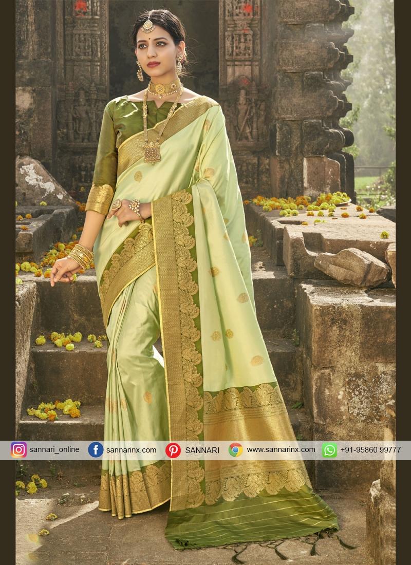 Striking Banarasi Silk Fancy Green Traditional Designer Saree