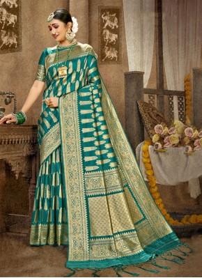 Striking Banarasi Silk Green Weaving Traditional Designer Saree