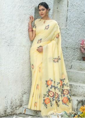 Striking Linen Print Yellow Printed Saree