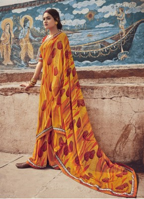 Striking Multi Colour Floral Print Faux Georgette Casual Saree
