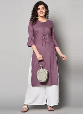 Striking Purple Print Rayon Party Wear Kurti