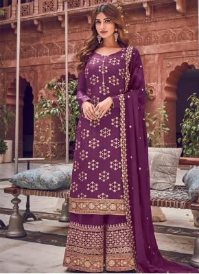 Striking Silk Woven Purple Trendy Straight Salwar Kameez