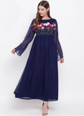 Stunning Blue Faux Georgette Party Wear Kurti