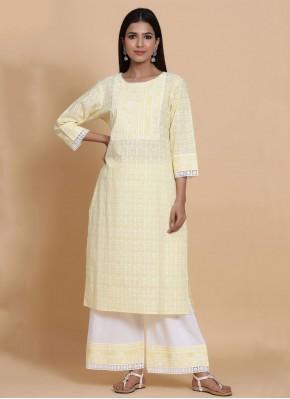 Stunning Fancy Yellow Cotton Party Wear Kurti