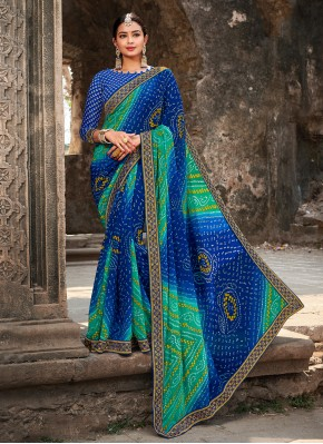 Stunning Georgette Border Multi Colour Classic Saree