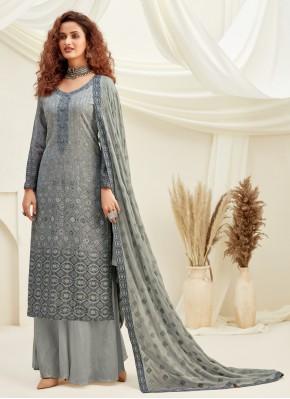 Stunning Grey Engagement Designer Palazzo Suit