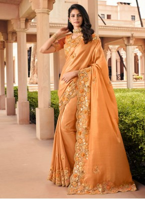 Stunning Orange Georgette Bollywood Saree