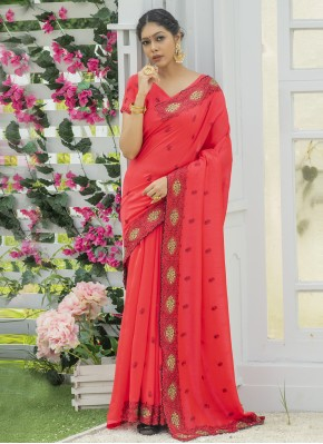 Stunning Red Embroidered Designer Traditional Saree