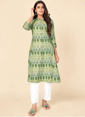 Stupendous Cotton Green Print Party Wear Kurti