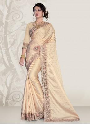 Stupendous Cream Classic Designer Saree