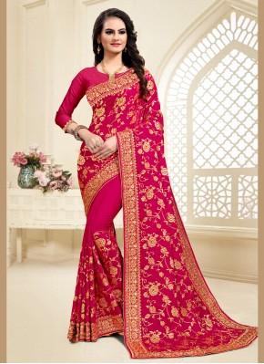 Stupendous Hot Pink Designer Saree
