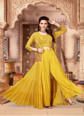 Stupendous Indo Western Style Suit in Gold Chiffon