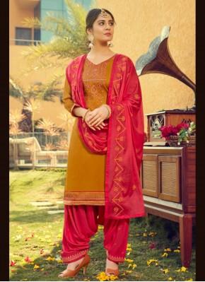 Stupendous Mustard Print Cotton Silk Patiala Suit