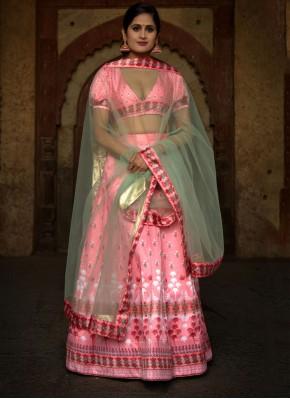 Stupendous Rose Pink Net Lehenga Choli