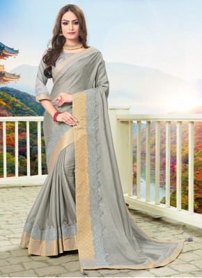 Stupendous Silk Grey Trendy Saree