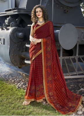 Stylish Abstract Print Faux Georgette Multi Colour Casual Saree