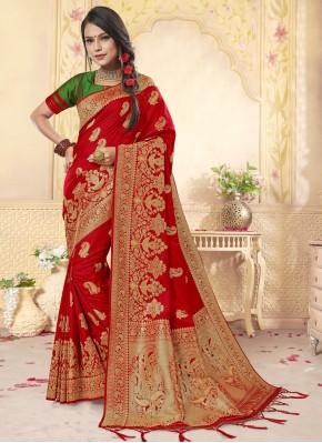 Stylish Banarasi Silk Red Weaving Designer Saree