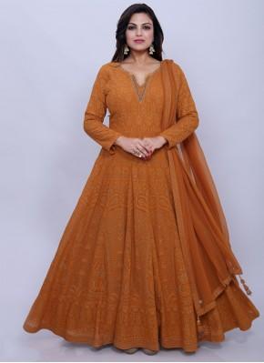 Stylish Georgette Brown Desinger Anarkali Salwar Suit