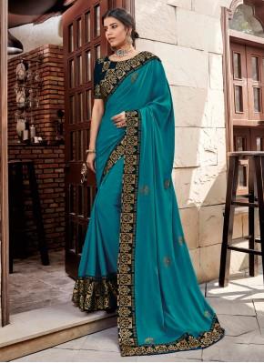 Stylish Georgette Satin Embroidered Trendy Saree
