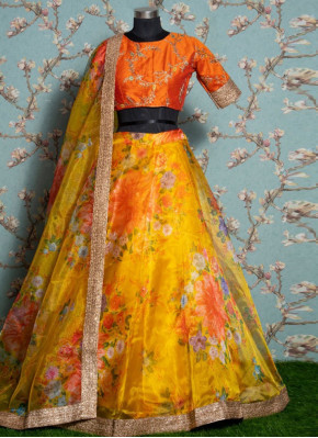 Stylish Khadi Yellow Floral Print Trendy Lehenga Choli