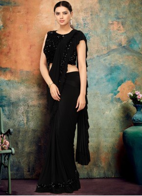 Stylish Lycra Sequins Black Classic Designer Saree