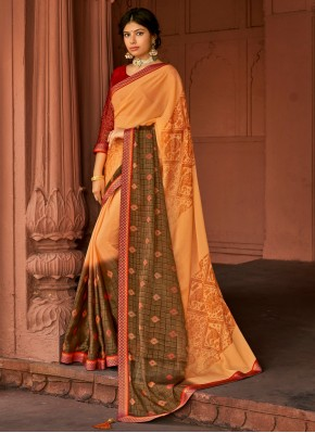 Stylish Multi Colour Printed Saree